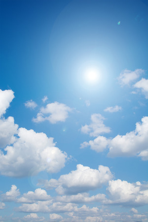 lensflare: Lensflare  and sunlight with clouds Stock Photo