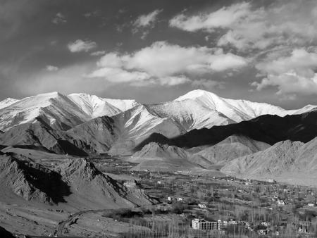 monotone: Leh City among mountains in monotone image, Ladakh Region, India Stock Photo