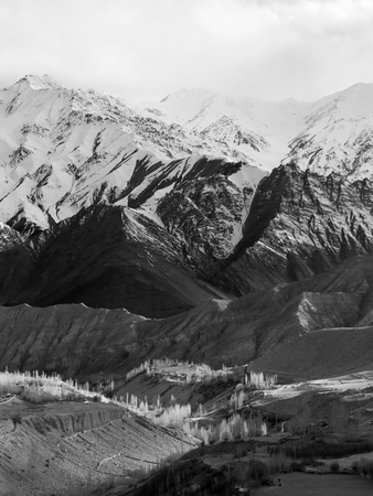 moutains: Snow moutains in black and white photography, taken in Ladakh Region, India Stock Photo