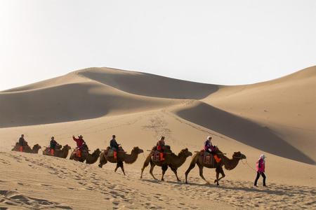敦煌市、甘粛省、中国 - 2014 年 10 月 11 日: 観光客のグループが乗って敦煌市、中国で砂漠のラクダです。この場所は、シルクロードの歴史の中での