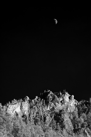 fine art: Mountain peak in monotone with the Moon, peak, monotone, black and white, Yading, Daocheng, Sichuan Province, China, landscape, nature, fine art, snow, top Moon Stock Photo