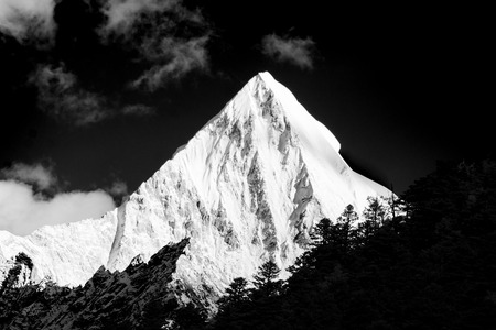 sichuan province: Mountain peak in monotone, Yading national level reserve, Daocheng, Sichuan Province, China
