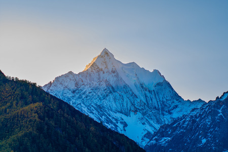 alpenglow: Mountain with snow and pine forest in autumn, taken in the morning, Yading, Sichuan, China Stock Photo