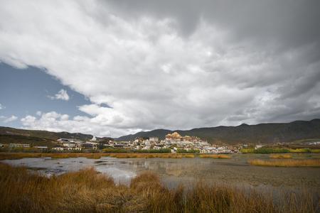 lost lake: The lake view at Songzanlin Monastery, Shangri-la County, Yunnan Province, China