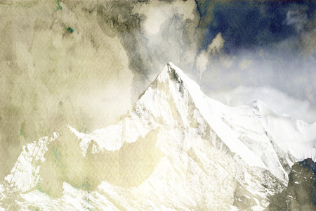 monotone: Mountain peak in monotone with snow cover, there is clouds in background. Stock Photo