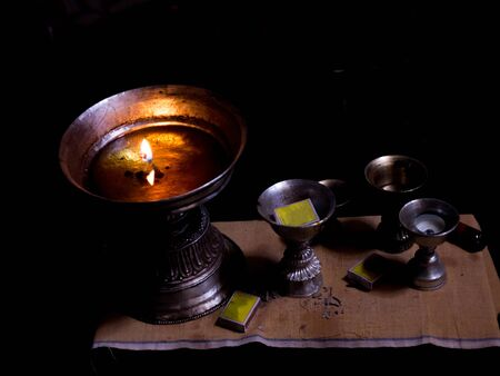 oil lamp: Oil lamp with fire and matchboxes