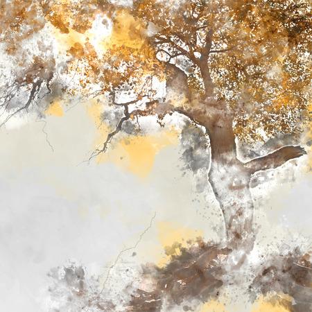 arbol alamo: Poplar tree in autumn season, watercolor background made in computer program