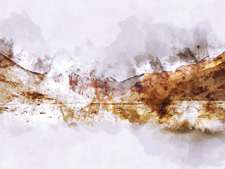 Mountains landscape, digital watercolor painting