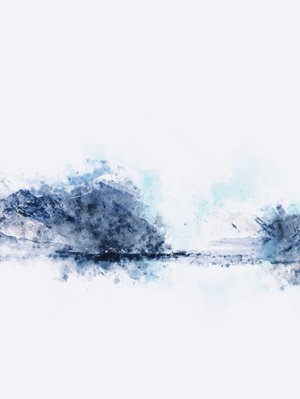 winter range: Abstract mountains landscape on white background, digital watercolor painting