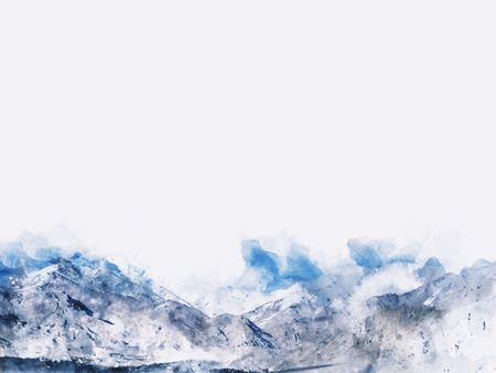 winter range: Abstract mountains landscape on white background, blue shade, digital watercolor painting
