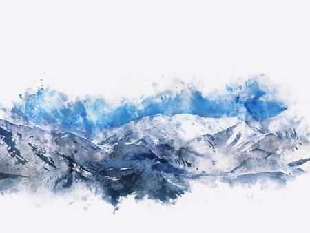 winter range: Mountains landscape in winter, digital watercolor painting