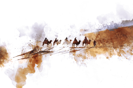 sand dune: Camels and people on silk road,  watercolor illustration Stock Photo