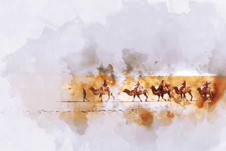 실크로드에 낙타와 사람, 수채화 그림