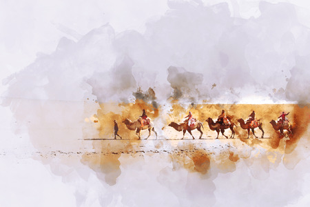 Camels and people on silk road,  watercolor illustration Фото со стока