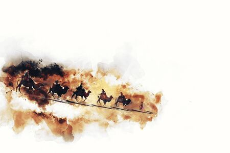 china watercolor paint: Camels and people on silk road,  watercolor illustration Stock Photo