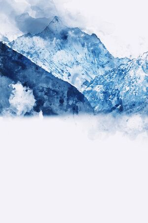 Mountains landscape in winter, digital watercolor painting with space for text Stock Photo