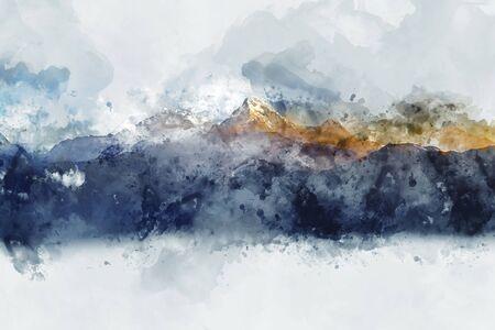 朝の光、デジタル水彩画の抽象的な山脈