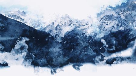 青色のトーン、デジタル水彩画の抽象的な山