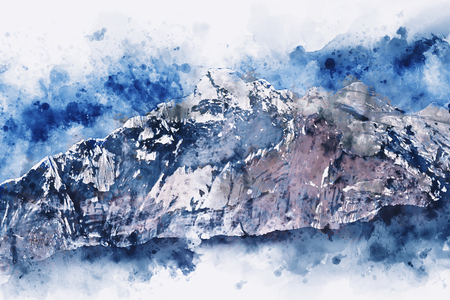 Mountains landscape in winter with splash of  blue color, digital watercolor painting