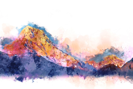 Colorful mountains landscape with splash of color , digital watercolor painting