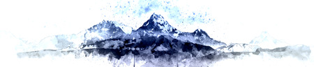 Panorama mountain range in the morning, Himalayas in Nepal Stock Photo