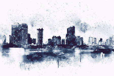 City scape watercolor painting in monotone