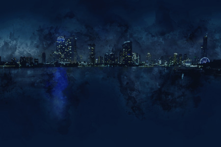 City scape in the dark night,digital watercolor painting