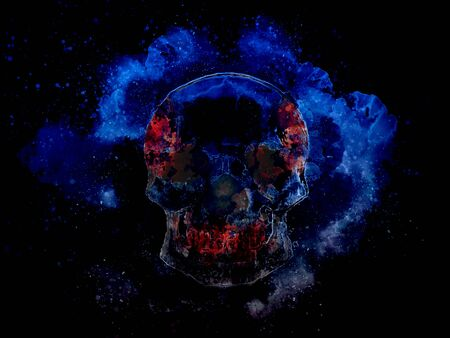 vehement: Watercolor image of angry human skull with splash of blue and red ink, drawing on black background, digital illustration