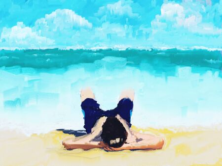 Man taking a sunbath at sand beach with blue sea water and looking at clouds on sky