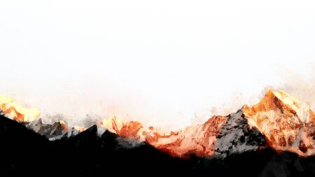 Abstract mountain ranges in morning light,  digital watercolor painting Stock Photo