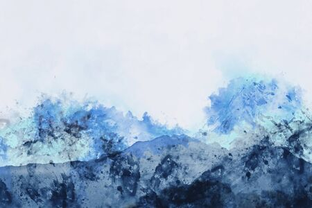 Abstract mountain ranges in blue shade,  digital watercolor painting