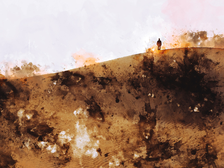 Man on the sand dune in the desert,digital watercolor painting Фото со стока