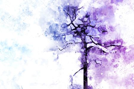 Abstracte dode boom op blauwe achtergrond, digitale aquarel illustratie