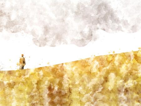 사막, 디지털 수채화 그림에서 모래 언덕에 남자