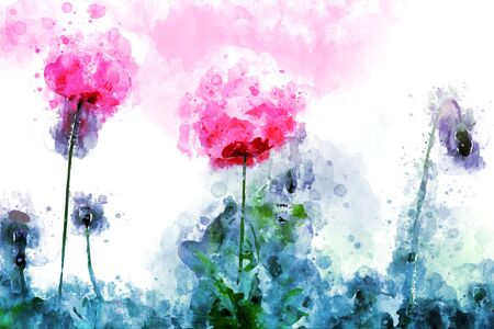 Abstract red poppy flowers on grunge and splashed watercolor background, digital watercolor painting