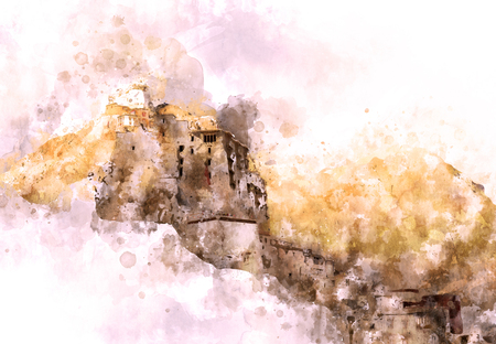 Monastery on the cliff, watercolor painting