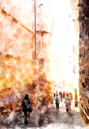 성에서 산책하는 사람들, 디지털 수채화 그림 스톡 콘텐츠 - 80033979