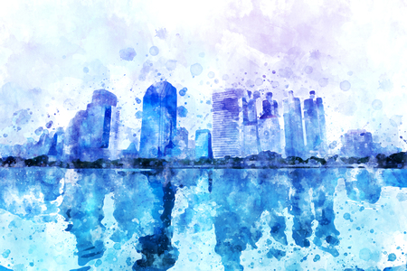 Blue cityscape watercolor painting on white background with splash of ink, digital illustration