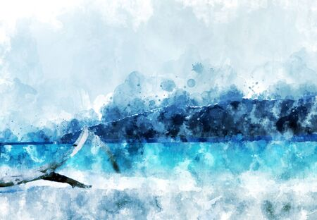 Abstract sand beach at the island,  blue water in the sea, digital watercolor painting