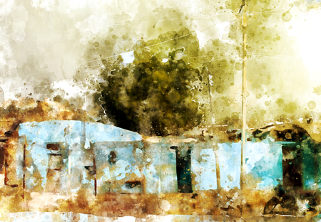 사막 수채화 그림에서 전통적인 집