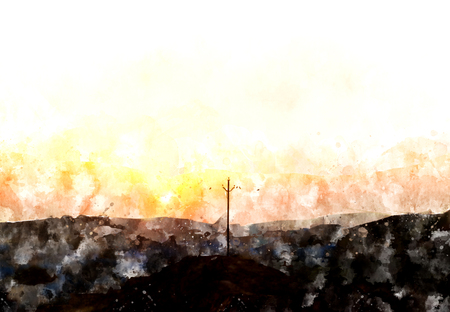 afterglow: Landscape watercolor painting of hill  at sunset time