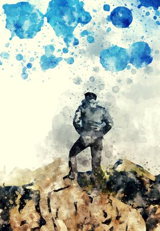 Man standing on the rock and splash of ink on white background, digital watercolor image Stock Photo