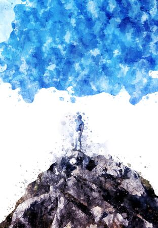 CHALLENGING: Man standing on the rock and blue sky background, digital watercolor image Stock Photo
