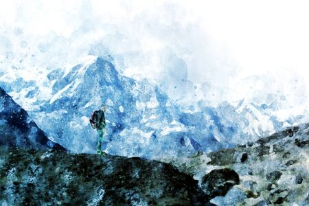 Hiker young man with backpack looking at mountain range and put hands up. Trekker man trekking in Nepal trekking route around Himalaya Mountain. Tourist traveling in holiday in the beginning of winter. Digital watercolor painting