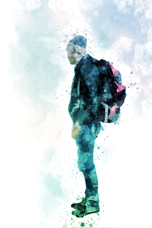 Hiker young man with backpack, Digital watercolor painting Stock Photo - 81320225