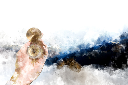 compas de dibujo: Mano sosteniendo el compás con el fondo de las montañas, pintura digital de la acuarela Foto de archivo