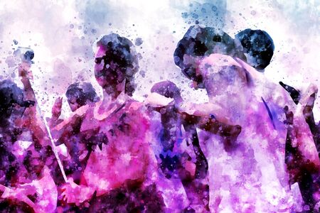 holi: Holy festival in India, digital watercolor painting in pink