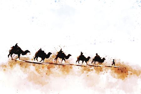 사막의 모래 사구에서 걷고있는 낙타와 사람들, 역사 속의 실크로드라는 길, 디지털 수채화 삽화 스톡 콘텐츠