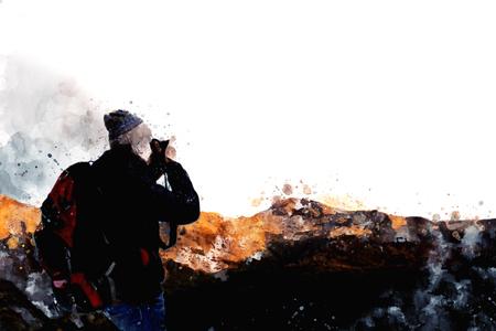 Wanderer mit Rucksack, der Fotos von Bergen macht, Digitale Aquarellmalerei Standard-Bild - 81857383