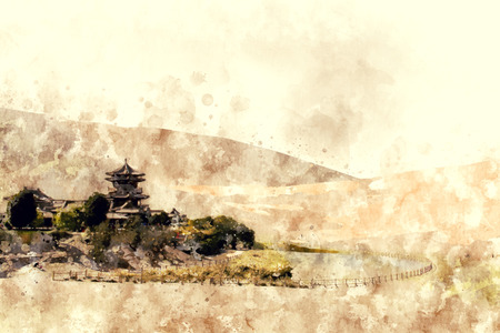Ancient Building in desert,Dunhuang city, China. Digital watercolor painting in brown shade